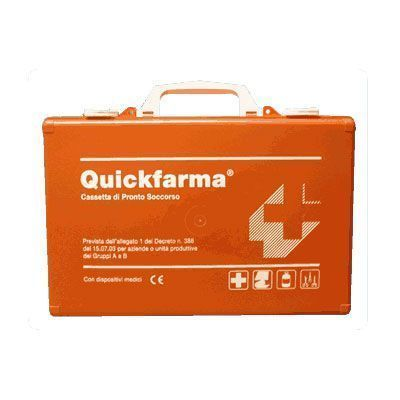 Cassetta di primo soccorso QuickFarma con sfigmomanometro digitale