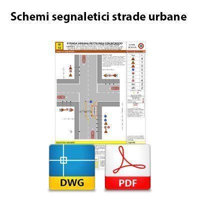Schemi segnaletici strade urbane - DWG + PDF