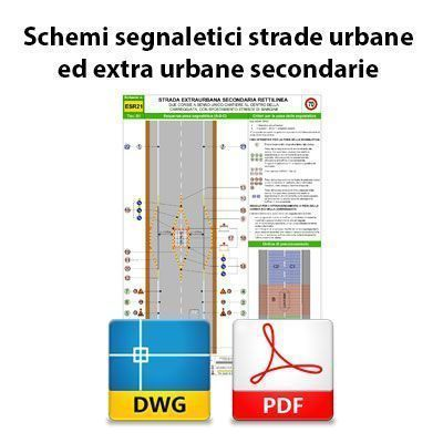 Schemi segnaletici per strade urbane ed extra urbane secondarie - DWG + PDF