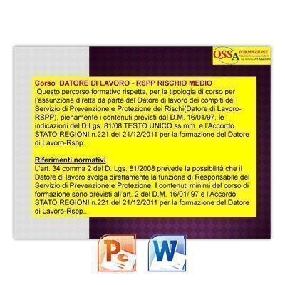 Corso per Datore di Lavoro RSPP Rischio Medio